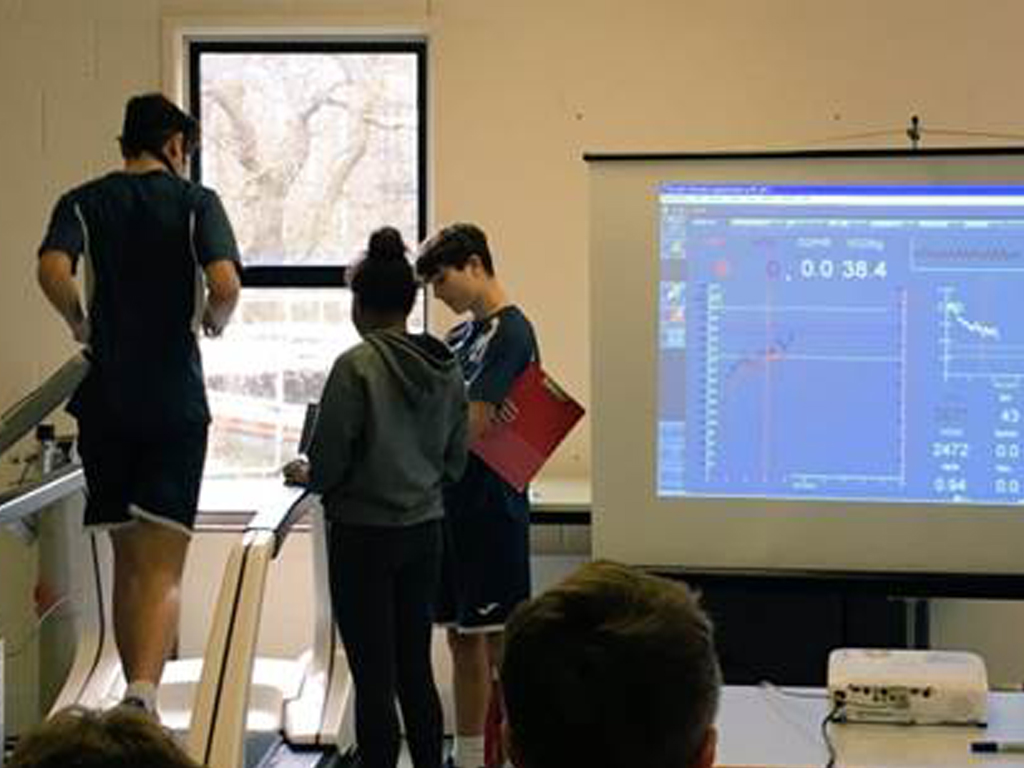 Students take part in a variety of exercise tests